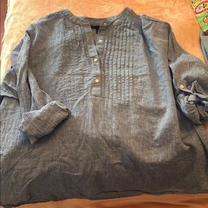 Lane Bryant 3/4 blue button down blouse